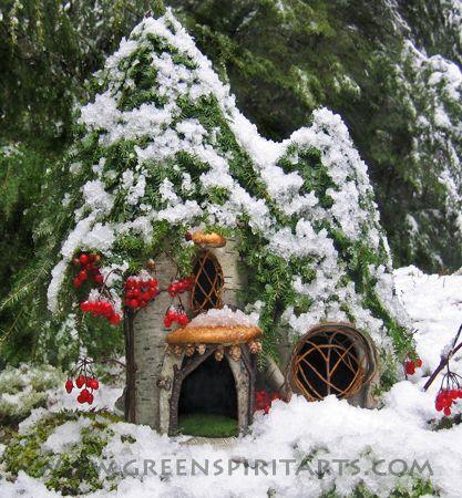 Charming Fairy Cottages ♧ Garden Faerie Gnome Elf Houses Miniature  Furniture   Fairy Christmas Snow