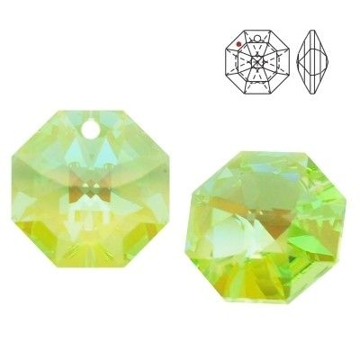 STRASS Swarovski 8115 Octagon 14mm Light Peridot Blue AB with 1 hole  Dimensions: 14,0 mm Colour: Light Peridot Blue AB 1 package = 1 piece