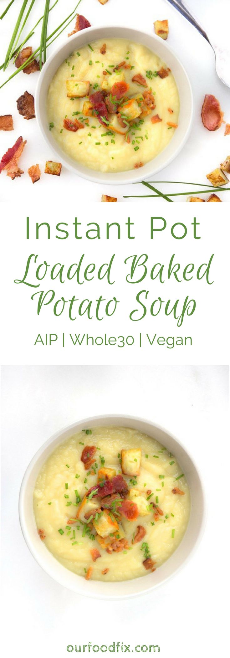A quick, easy, healthy take on the comfort food classic. Free of allergens, and options to customize your toppings, you are only 30 minutes from a hearty and satisfying one pot meal. Instant pot recipes | AIP recipes | Autoimmune paleo recipes | One pot meals | 30 minute meals | Paleo recipes | Gluten free recipes | Egg free recipes | Nut free recipes | Vegan recipes | Allergy friendly recipes | Soup recipes