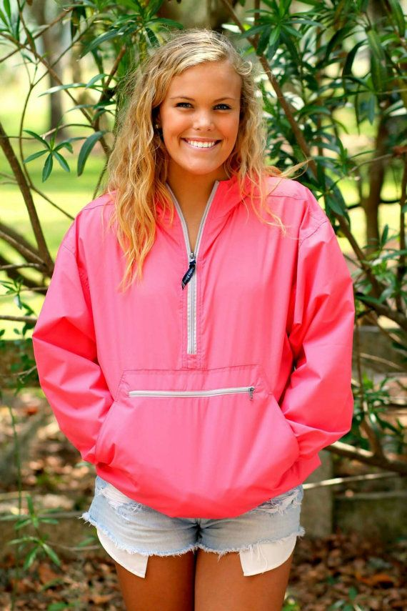 Monogram Rain Jacket Pullover Quarter Zip by embellishboutiquellc
