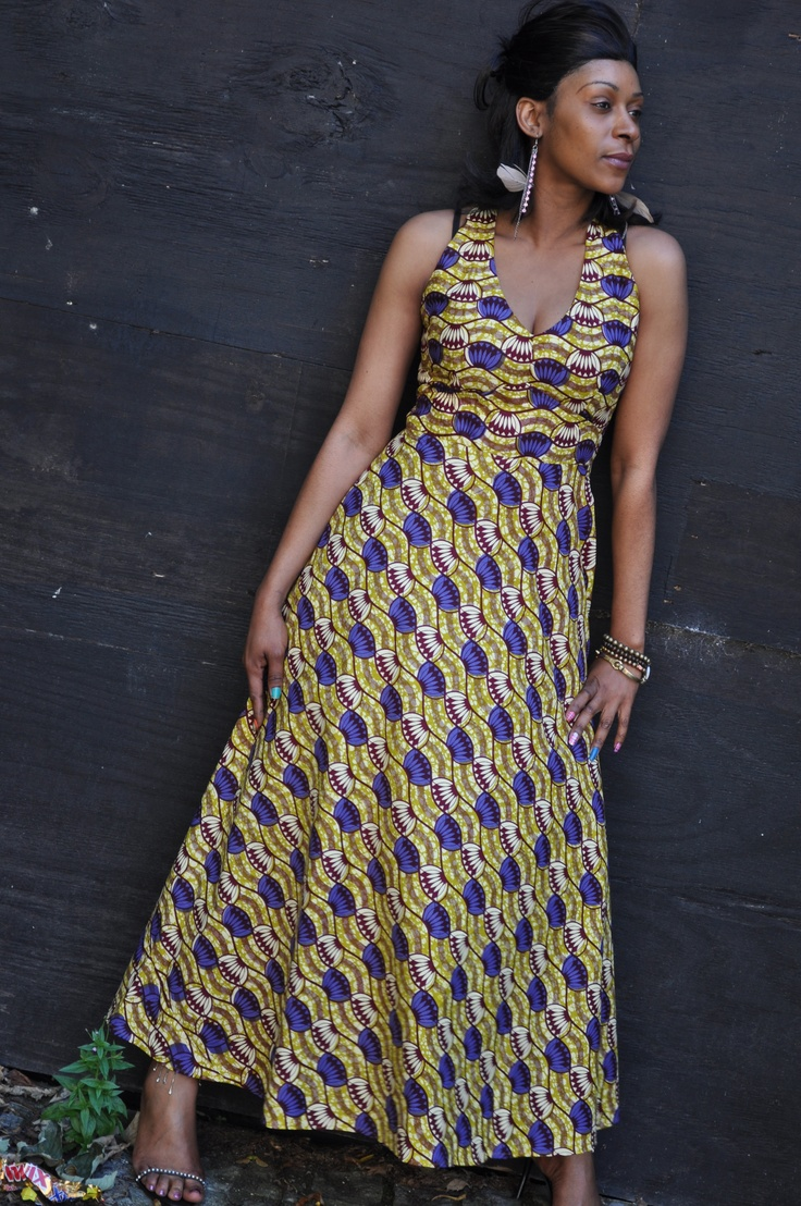 Multi Coloured African Print Fit And Flared Maxi Dress