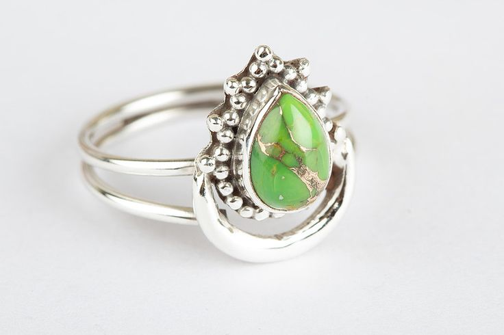 Turquoise Jewellery – Handmade Green Turquoise Gemstone  Silver Ring  – a unique product by ArtisanJewellery on DaWanda