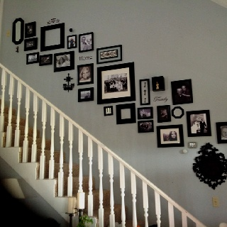 My pinterest inspired staircase wall of family pictures