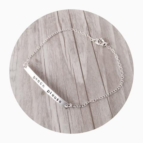 Bar Anklet. The perfect way to hold your special memories close to your heart.  I can stamp names, roman numerals, dates, coordinates, initials - the options are endless. Perfect as a birthday, bridesmaid or thank you gift! #anklets