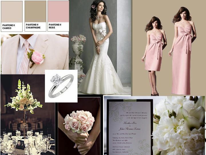 1f69ef1c18a61 Champagne and gold PANTONE WEDDING Styleboard The