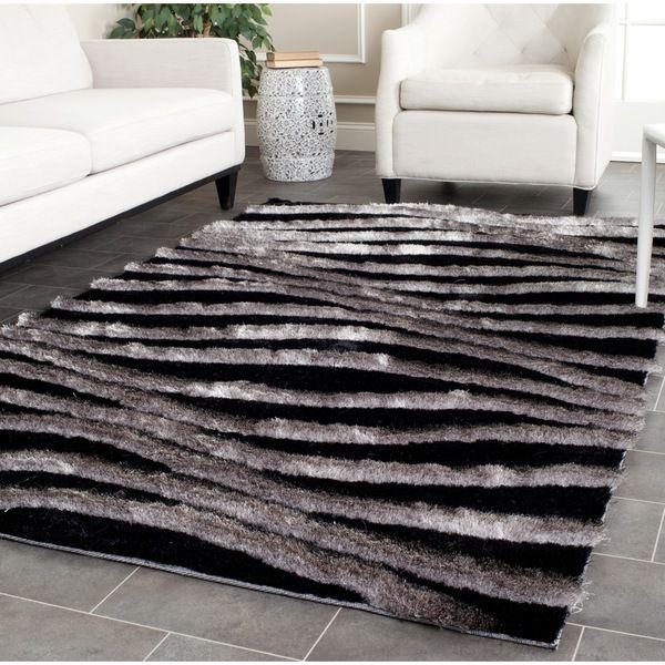 Superb Safavieh Handmade 3D Shag Black/ Grey Rug (3u00276 X ...