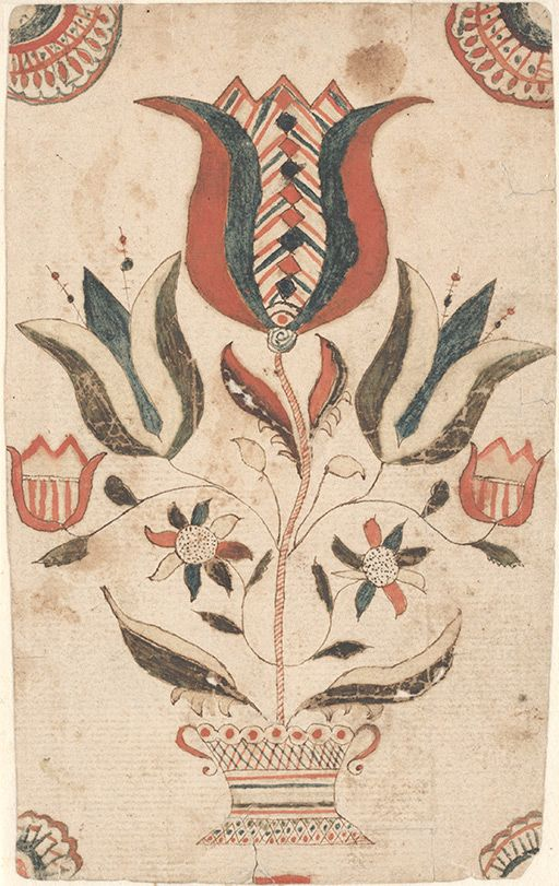 Drawing (Flowers) - Fraktur