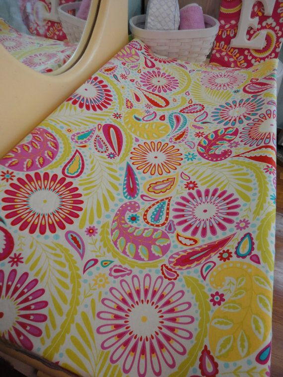 Contoured Changing Pad Cover In Kumari Garden Fabric