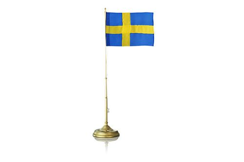 """Skultuna - Swedish Flagpole - Sing with us now the Swedish national anthem:  """"I forever want to serve thee, my beloved country, Loyalty until death I want to swear thee, Thy right I will protect with mind and with hand, thy banner...""""  ...flies high on my desk!"""