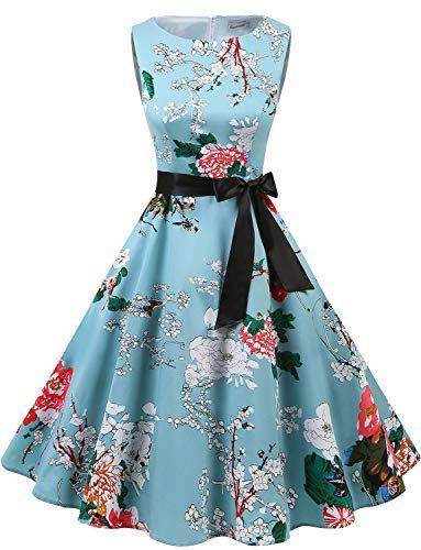 Gardenwed Annata 1950 retrò Rockabilly Polka Vestito da Audery Swing Senza Maniche  Abito da Cocktail Partito Floral XS b5d9c4a4da0