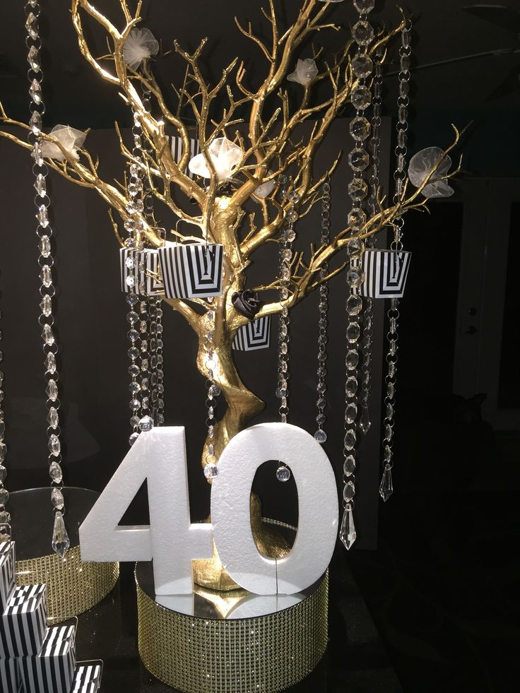 Black, White and Gold Birthday Party. Candy Buffet with a Glamorous 2-tier fondant cake brushed with edible gold shimmer. Mirrors, Bling, Satin, all with an Art Deco feel. Black and White photos of European cities along the backsplash. Gold Manzanita Trees dripping with crystals and satin and chiffon flowers. The happy couple celebrated their 40th Birthdays together with Family at Friends at Bulla Gastro Bar in Coral Gables, Florida. This was an elegant and contemporary affair.
