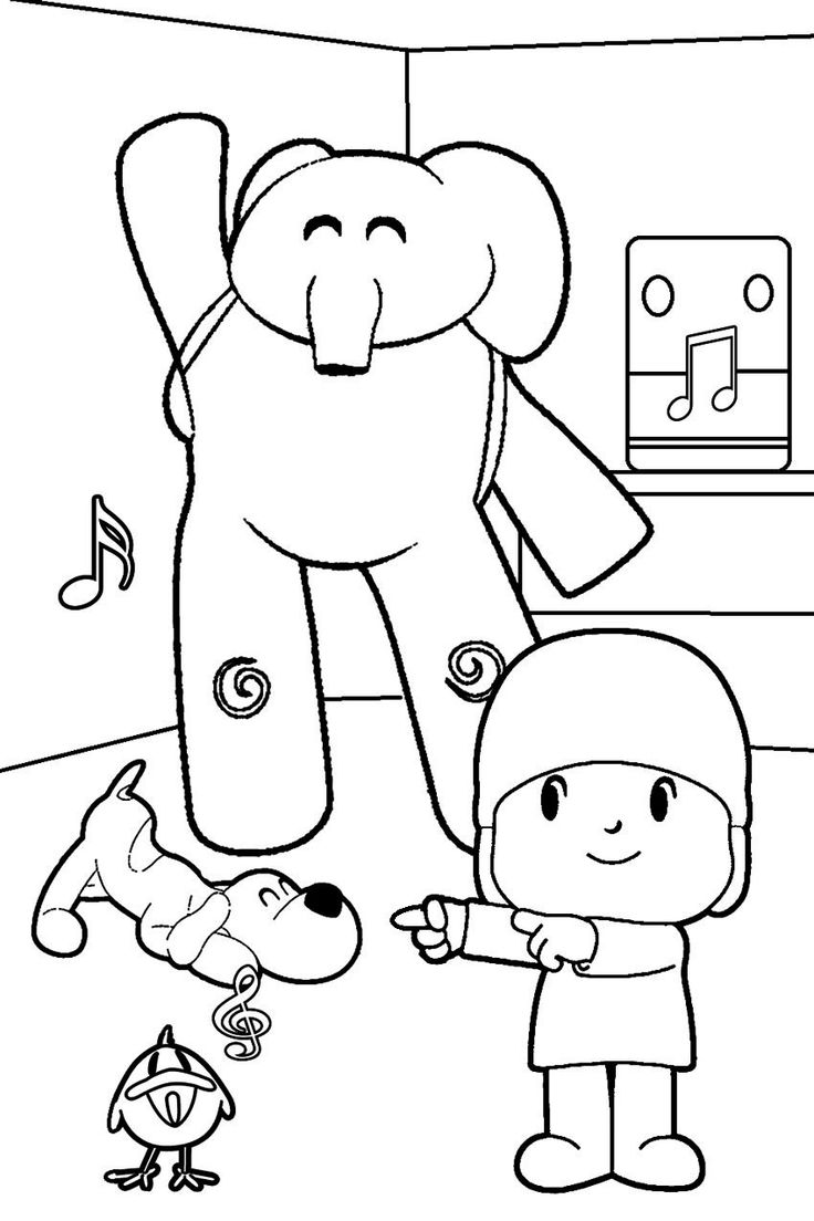 Coloring pages in spanish - Printable Pocoyo Coloring Pages For Kids