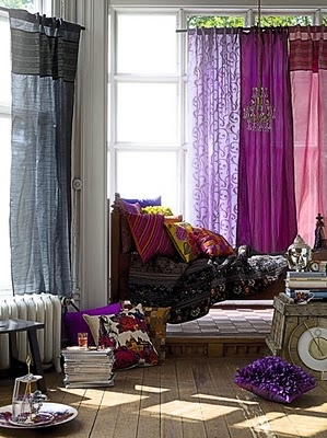 Bohemian Room Decor. What can i say? Curtains, throw pillows and wooden floors!