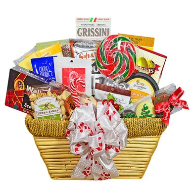 This stunning gift basket is overflowing with an indulgent selection of snacks, holiday treats and beverages. Generously sized making it the perfect choice for holiday parties, corporate or family gifts.
