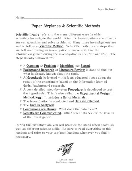 paper airplanes and scientific methods 7th 9th grade worksheet lesson planet classroom. Black Bedroom Furniture Sets. Home Design Ideas