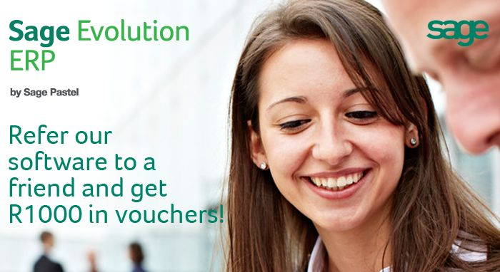 Refer the software to a friend and et R1000 in vouchers! http://www.pastel.co.za/ezines/HTMLs/September%202013/EvolutionModules/EVO_ReferEarn.html