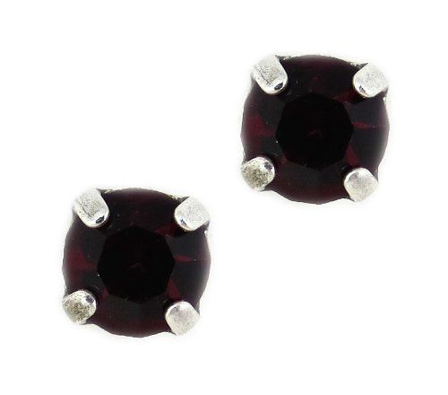 Silver Plated Petite Round Swarovski Crystal Post Earrings in Siam