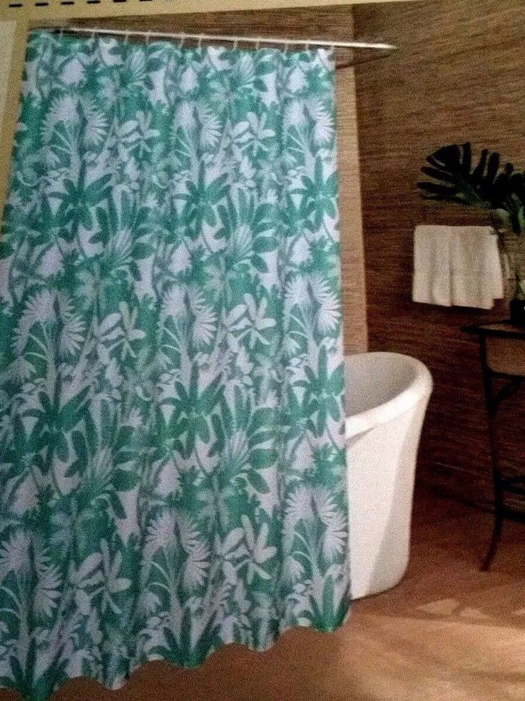Caribbean Joe Tropical Shower Curtain Palm Trees Teal