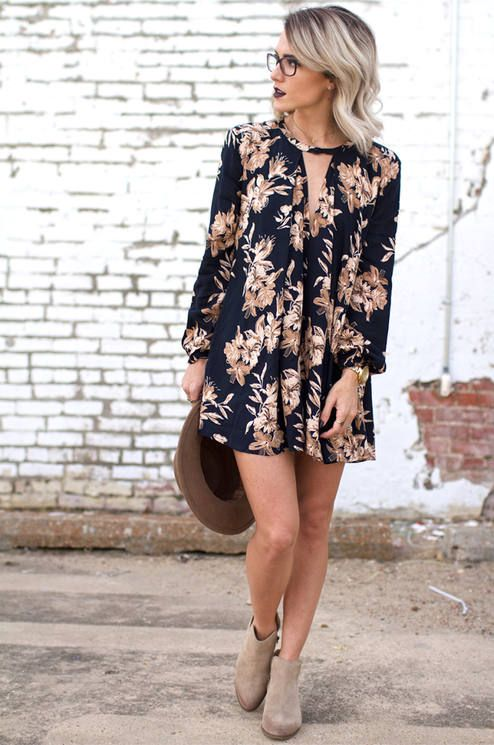 Jo & Kemp Black Fall Floral Shift Dress Fall Floral Outfit Inspo
