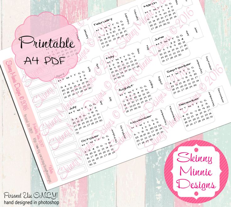 2017 Calendar Planner Month Tabs White (Digital Download) by SkinnyMinnieDesigns on Etsy
