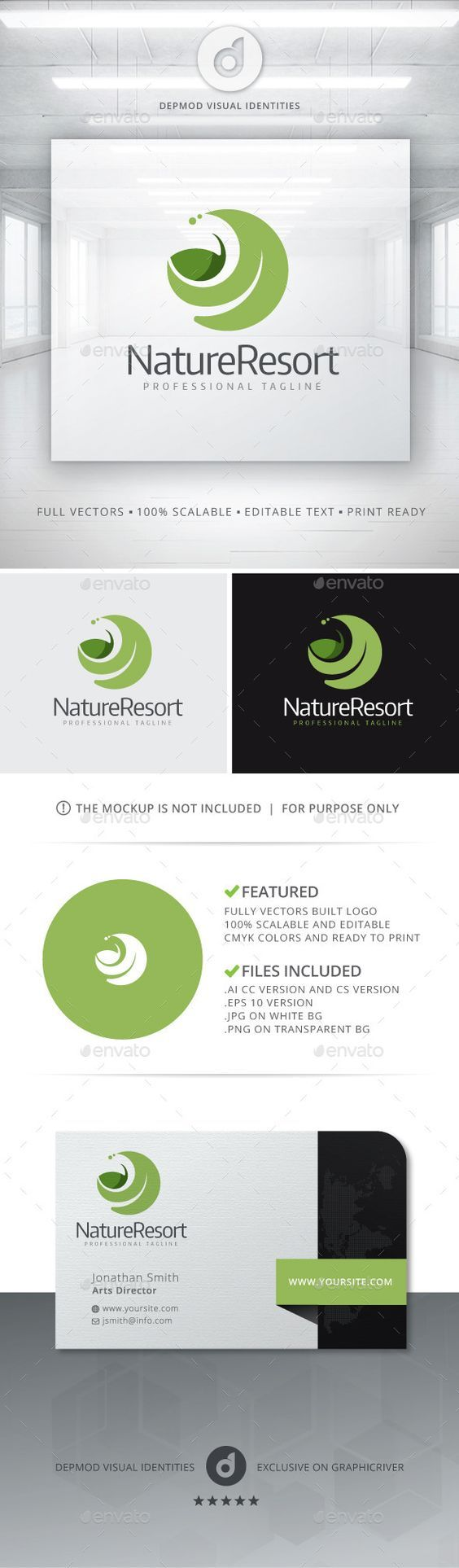 Nature Resort Logo (JPG Image, Vector EPS, AI Illustrator, Resizable, CS, care, caring, detente, eco, eco logo, ecological, environment, environmental, fresh, green, health, leaf, leaf logo, leaves, massage, modern, natural, nature, nature care, organic, professional, relaxation, resort, spa, spa resort, studio, tree, yoga, zen):