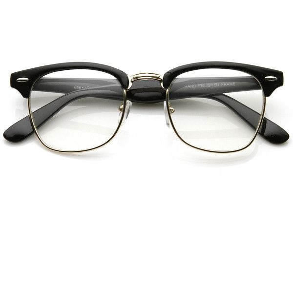 Vintage Inspired Classic Wayfarer Clubmaster Clear Lens Glasses 2933 ($9.99) ❤ liked on Polyvore featuring accessories, eyewear, eyeglasses, glasses, sunglasses, fillers, half frame eyeglasses, half-frame glasses, vintage style glasses and wayfare