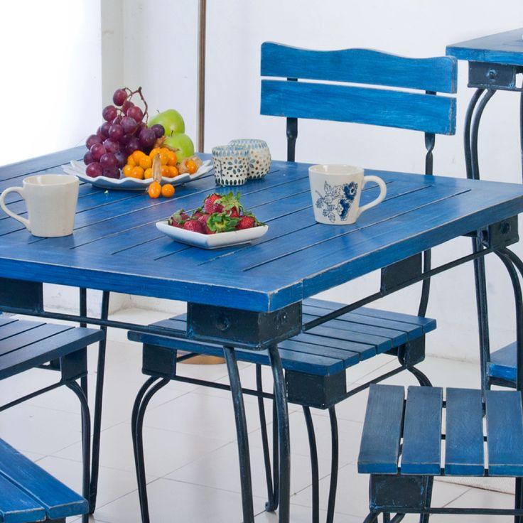 #dining #table #wood #furniture #blue #Mediterranean #ceramic #mugs #platter #summer #home #living #decor #interior #lifestyle #tea-lights #Fabindia
