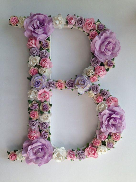 Custom Floral Letter Wedding Decor Cake Table Decor Top