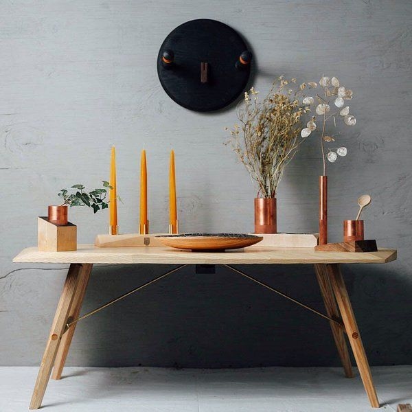 A beautiful collection of wood furniture and accessories by Temper Studio #makeathingaday #wood #furniture #candleholder #bench temperstudio.com