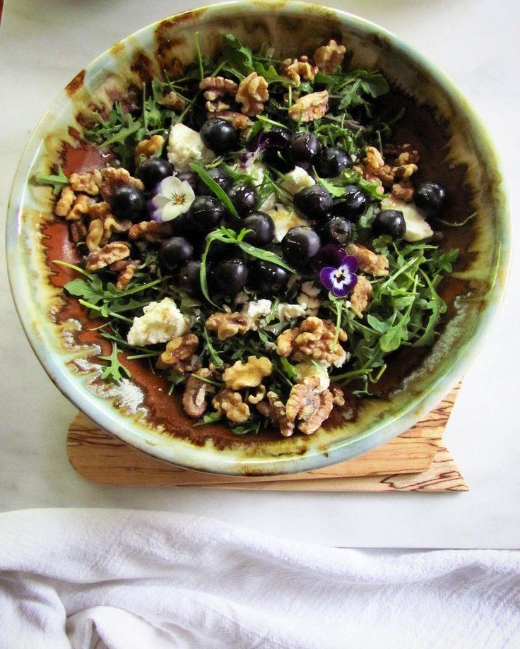 Arugula salad with Greek feta glazed toasted walnuts tarragon garlic chives violets and black grapes; evoo balsamic local honey. Porcelain bowl. #salad #saladporn #howispring #feedfeed #glutenfree #vegetarian #hautecuisines #beautifulcuisines #foodandwine #saveurmag #foodblogfeed #cookinglight #saladdays #cooking #wearethemakers #potsandfood #pottery #porcelain #thatbowltho #makersgonnamake #showmeyoursalad by dr.debs.pots