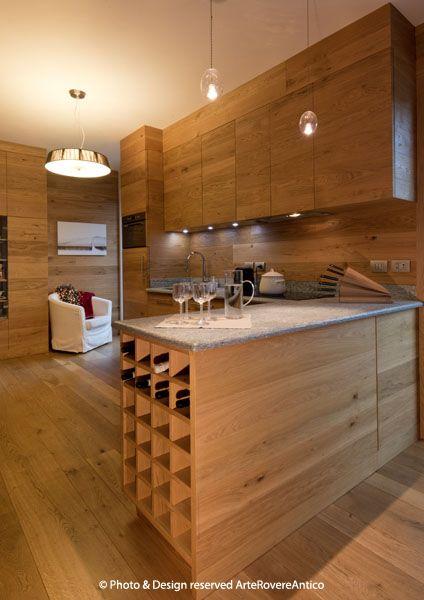 Arte Rovere Antico - Photo by Duilio Beltramone for Sgsm.it - Casa Soppalco Vetro - Sestriere Italy - Wood Interior Design - Glass - Kitchen - Mountain design