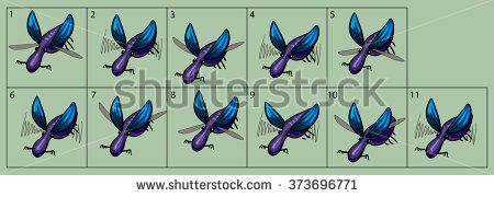 cartoon vector beetle animation fly. Game icon funny flying insect. Vector design for app user interface.