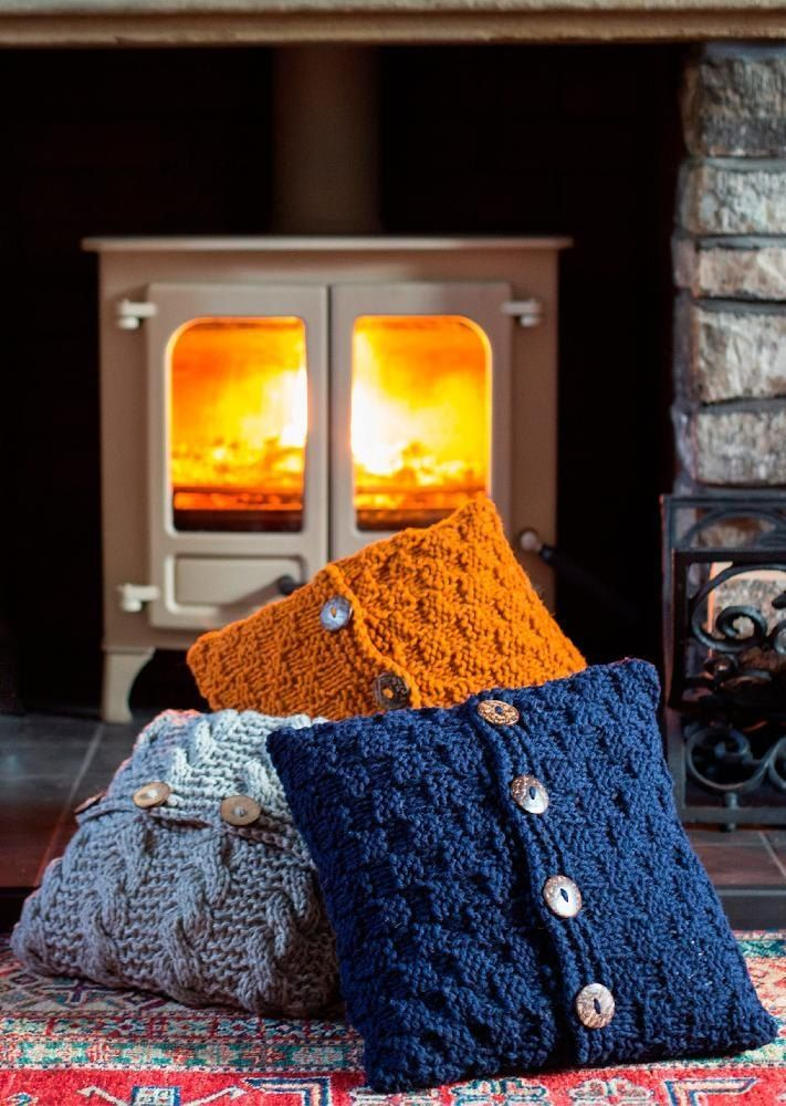 Hygge - Sycamore & Hawthorn Super Chunky Cushion Covers in blue grey and orange with cabling