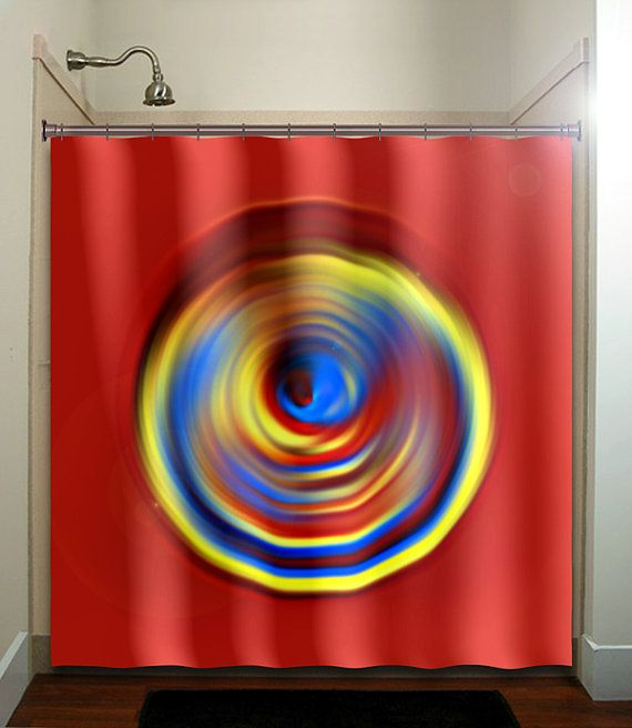 Yellow Blue Red Shower Curtain Bathroom Decor By TablishedWorks, $50.00