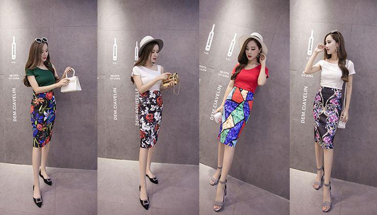 2017 Fashion skirt Floral print H type high waist pencil skirt Split the fork female knee length big Size - MISS LADIES