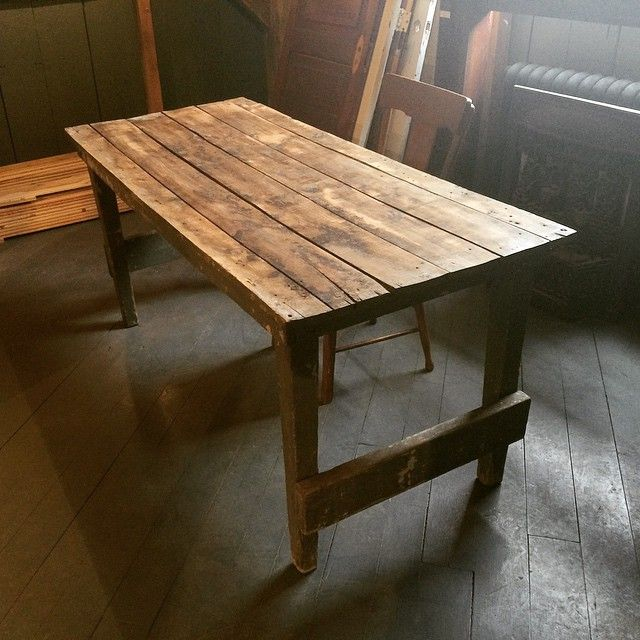 I love this antique work bench derived from The Biltmore Hat Factory in Guelph, ON. It has a beautiful patina and would look right at home in any space. Gorgeous! #reclaimed #interiordesign #rusticdesign