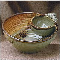 Deep Chip and Dip Set : Sunset Canyon Pottery, Large Chip & Dip Server, Handcrafted Pottery