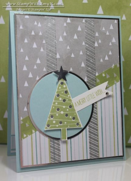 Festival Of Trees Bundle; All Is Calm Designer Washi Tape; All Is Calm Specialty DSP; Circles Collection Framelits; 2-1/2″ Circle Punch; Itty Bitty Accents Punch Pack; Bitty Banners Framelits; Silver Stampin' Emboss Powder; Pear Pizzaz Ink; Soft Sky Ink; Soft Sky CS; Whisper White CS; Silver Foil Sheets; Rhinestone Basic Jewels Embellishments