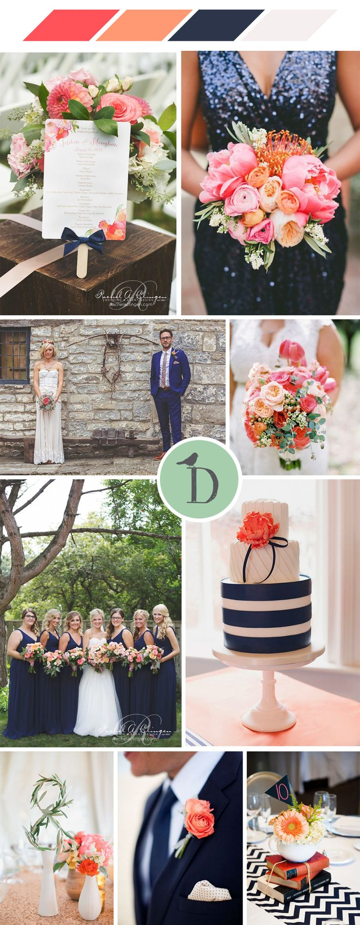 Get inspired by this navy and coral wedding color scheme. Fresh and vibrant, but still classic, the dark navy really makes those fresh pinks and oranges stand out. We love blousy, super glamorous peonies in mixed coral shades against strong geometric prints
