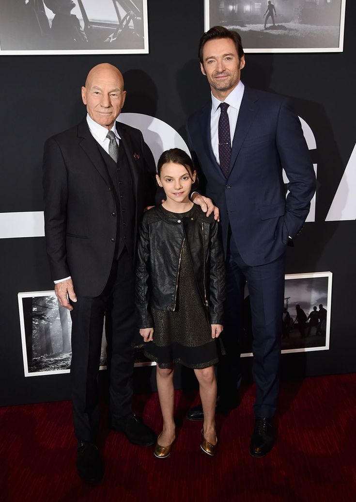 Sir Patrick Stewart, Dafne Keen and Hugh Jackman at the New York premiere of Logan.