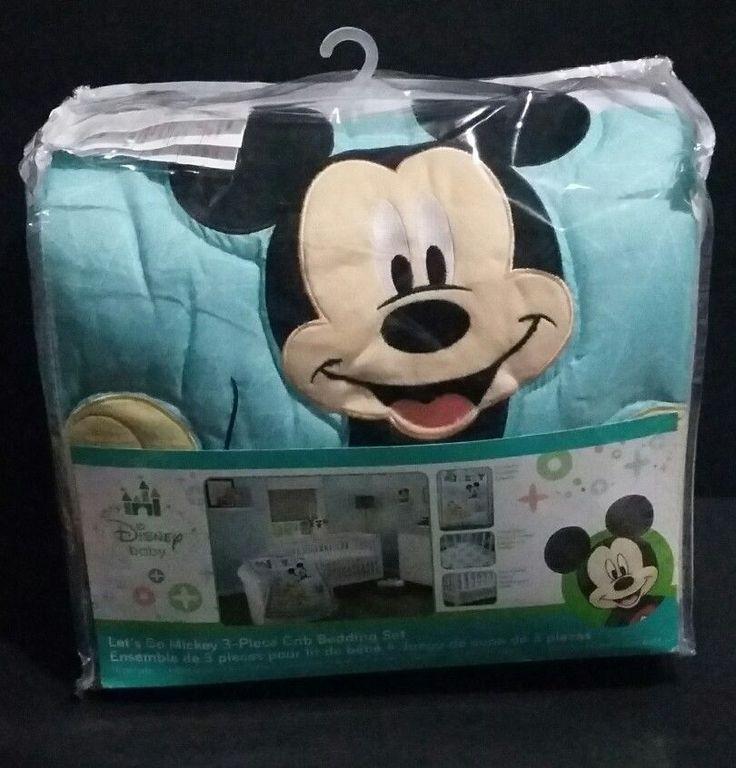Disney Baby Mickey Mouse Let's Go Mickey 3-Piece Crib Bedding Set Unisex #DisneyBaby