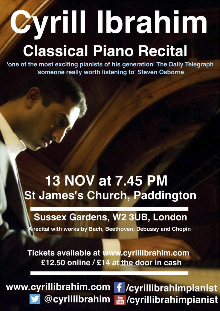 Next concert in St James's Church Paddington with Bach, Debussy, Beethoven and Chopin