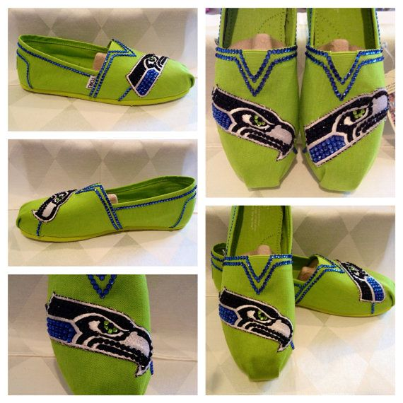 Seattle Seahawks Womans shoes custom lime green Toms classics Hotfix rhinestones Seattle Seahawks  apparel  Free Shipping on Etsy, $130.00
