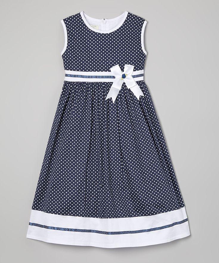 Blue Polka Dot Sash A-Line Dress - Toddler & Girls | zulily
