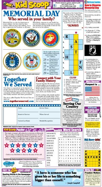Memorial Day Activities printable copy