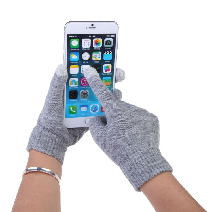 Новый! Горячая! Бесплатная доставка серый женщины / мужчины с сенсорным экраном для смартфонов полный палец зимние рукавицы купить на AliExpress