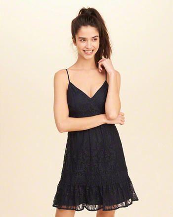 Ruffle Hem Lace Dress