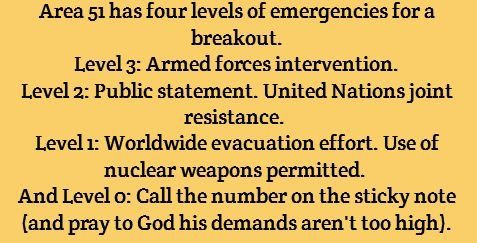 Area 51 has four levels of emergency breakout. Level 3: Armed forces intervention. Level 2: Public statement. United Nations joint resistance. Level 1: Worldwide evacuation effort. Use of nuclear weapons permitted. Level 0: Call the number on the sticky note (and pray to God his demands aren't too high).