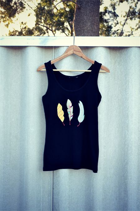 Handstitched Feather Applique Tank Top - Made to Order Size 10 | MonkeysOverTheMoon | madeit.com.au