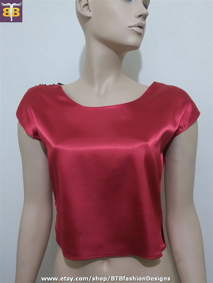 Red sateen blouse, red sateen crop top, red beaded blouse, red top, red short sleeve blouse, red short top, cropped blouse, sleeveless top by BTBfashionDesigns on Etsy